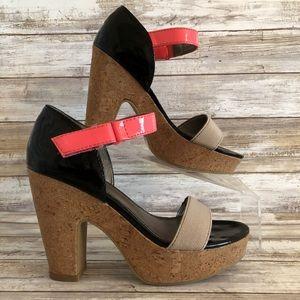 Fergalicious Pattie Black Pink Platform Sandals.